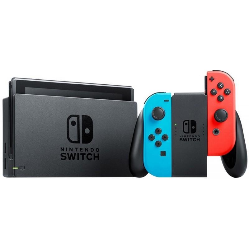 Console Nintendo Switch Hac-s-Kabaa Wi-Fi/Bluetooth/HDMI Bivolt Azul Neon/Vermelho Neon